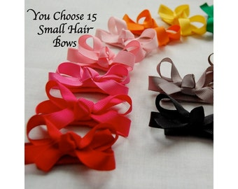 You Pick Fifteen - Small Size Bow - 2-1/2 Inch Baby Hair Bow on Snap Clip - Baby Toddler Girl Barrette - Special Price