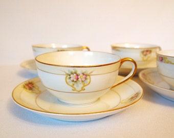Antique Teacup Set China Tea Cups and Saucers Floral with Gold Art Deco Noritake Tea Set 'The Vitry' Set of 4 - Nippon/Japan Circa 1918