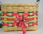 Handwoven Reed or Wicker Basket or Storage Bin, Easter Basket, Little Girl Storage