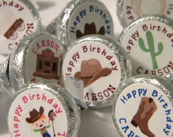 Cowboy Party Favors - Personalized Cowboy Birthday Party Hershey Kiss Sticker Favors - Western Hershey Kisses - Cowboy Hershey Kisses Favors