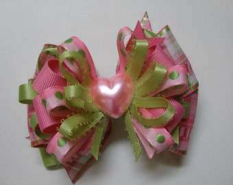 Kiwi Lime Green Pretty Bright Pink Plalid Hair Bow Valentines Day Heart Toddler Girl