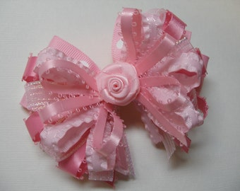 Pretty Shades of Girly Girl PINK Boutique Hair Bow Toddler Glitz Pageant Wedding Birthday Party
