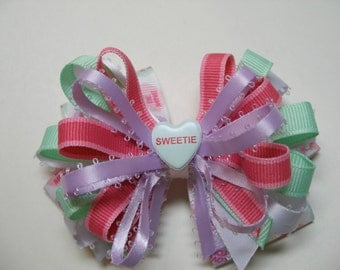 My Sweetie Valentines Day Pink Conversation Heart Love Hair Bow White Polka dot Handmade Boutique