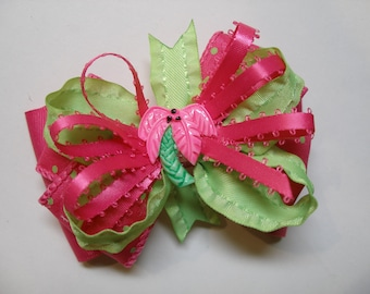 Palmetto Palm Tropical Paradise Lime Green Bright Hot Pink Hair Bow Boutique Beach Cruise Wear