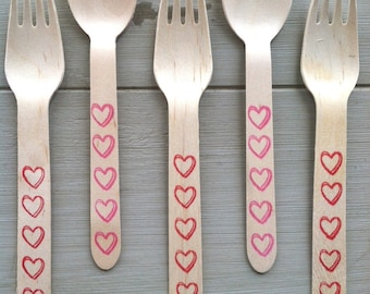 Wooden Spoons, Hearts Silverware, Valentine Wooden Ice Cream or Party Spoons or Forks (20)