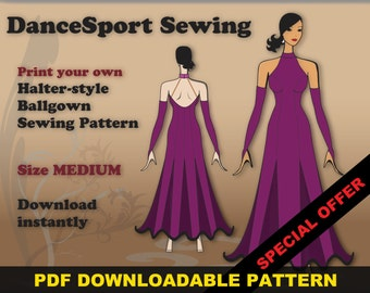 Halter Style Ballroom and Latin Gown Sewing Pattern, PDF downloadable, SIZE MEDIUM, plus free Manual ebook