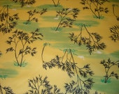 FABRIC SALE! 1 Plus Yards Bamboo Lake with Ducks Polyester Fabric Yellow and Green Light Medium Weight