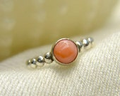 Salmon Coral Stacking Ring, Sterling Silver Ring with Salmon Coral Cabochon, Bridesmaids Gifts