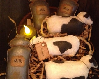 Primitive Cow and Milk Can Bowl Fillers