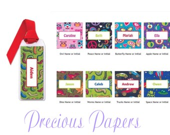 Personalized kids book marks- personalized kids bookmarks- owl bookmarks - dinosaur bookmarks -rocket bookmarks - butterfly bookmarks