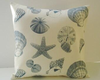 DECORATIVE THROW Pillow Cover 12  x 16  BlueThrow Pillow Cover Lumbar Blue pillows Shells  Beach Cottage