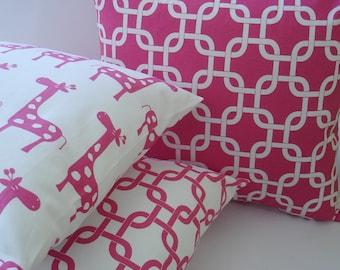 Pillow Covers 3 Accent Pillows  Hot Pink Accent pillows  16 X 16  Throw  Pillows  Throw Pillows  Decorative Throw Pillows