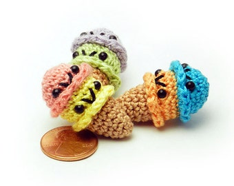 Two Scoop Ice Cream Cone - Miniature Dessert Amigurumi Doll Plush with Optional Key Chain or Phone Charm Attachment