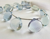 Fluorite Bead, Heart Briolettes, AAA, Micro Faceted, 9-10mm, 6 Pieces