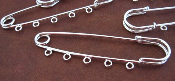 Silver Kilt Pins 10 Large 5 Loops Safety Pin Brooches