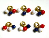 8 Red, White and Blue Lucite Beads - 24-13