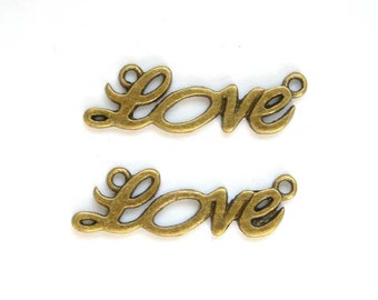 6 Antique Bronze Love Connectors - 3-14