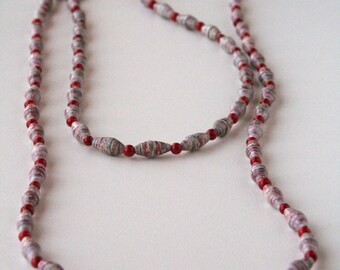 Burgundy Paper Bead Necklace