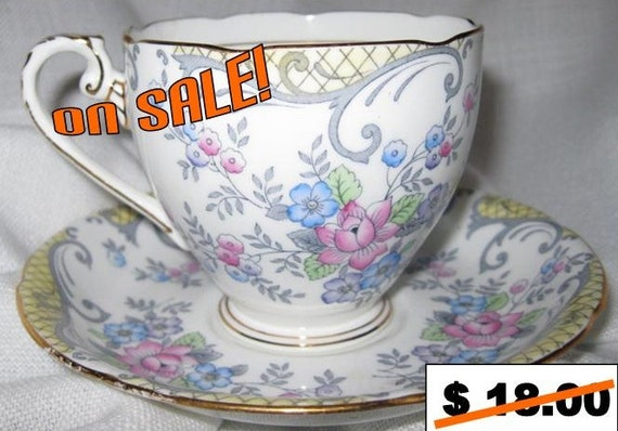 A.B.J. Grafton china, Cup and saucer, Strathmore pattern