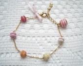 Sweet French Macarons Gold Bracelet