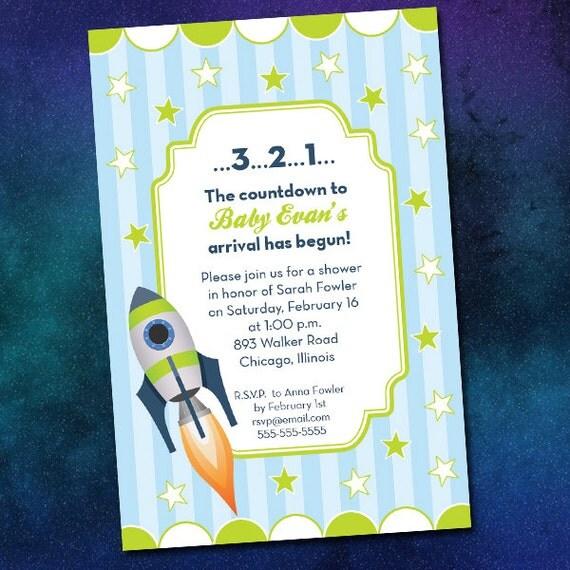 custom rocket baby shower invitations