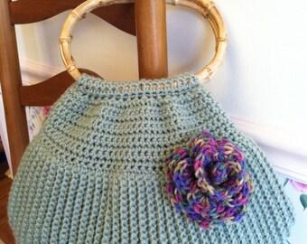 Frosty green crochet purse, Bamboo handled purse, Crochet purse, Slouchy Purse, Crochet purse with flower, Green crochet purse, Sage Green