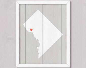 WASHINGTON DC- Rustic home decor 16x20 Handmade Personalized Sign Custom Heart Location  Wedding Bridal shower Housewarming Family gift
