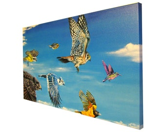 Karri Jamison Canvas PRINT, Title: Flying In Harmony, GICLEE PRINT on Canvas 12x24 inches