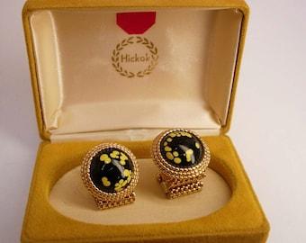 Vintage Fancy Glass Cufflinks hickok Wrap Mesh Yellow Black Business Wedding Hickok Original Box cuff links gold black