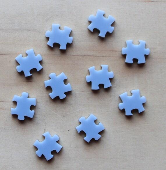 6 Grey Puzzle Pieces, laser cut acrylic