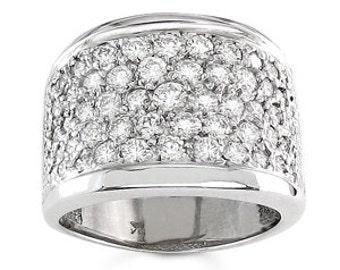 Ladies 18kt white gold wide pave diamond band 1.75 ctw G-VS2 diamonds