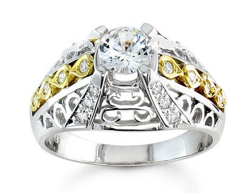 Ladies vintage 18kt diamond engagement ring with 0.10 carats of G-VS2 diamonds and 0.50 ct Round White Sapphire center