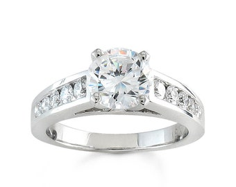 Ladies 18kt white gold round diamond channel cathedral engagement ring 0.50 ctw G-VS2 diamonds with 1ct Rd White Sapphire Center