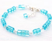 Aqua Blue Glass Bead Bracelet Silver Clasp Adjustable Spring Summer