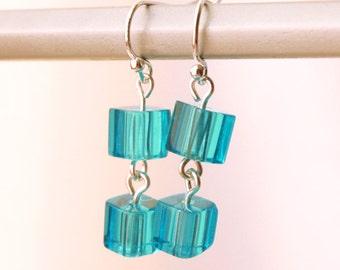 True Blue Cube Square 6mm Bead Drop Dangle Earrings Sky Blue Silver