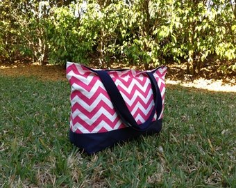 Pink Chevron Tote Bag with Navy