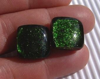 Glass Cufflinks - Mens Jewelry - Green Cufflinks - Fused Glass Jewelry - T Bar Cufflinks - MADE TO ORDER