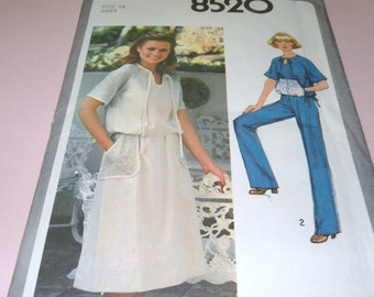 1977 Simplicity 8520 Misses Pullover top, skirt and Pants size 14, Uncut and Complete