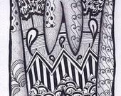 Zentangle, Letter W, Zebra Letters, name, bunting, alphabet