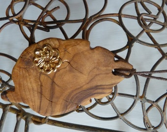 THE...LEAF Organic Hand Carved Wooden Leaf  Pendant With Gold Flower decoration