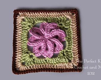 PDF Crochet Pattern File - 8 Petal Flower Square