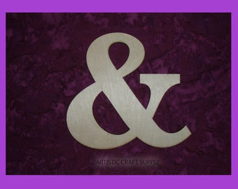 "Ampersand Unfinished Wood Letter & Symbol Wooden Letters 6"" Inch Tall"