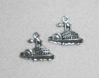 Silver Nautical Steam Ship Charms