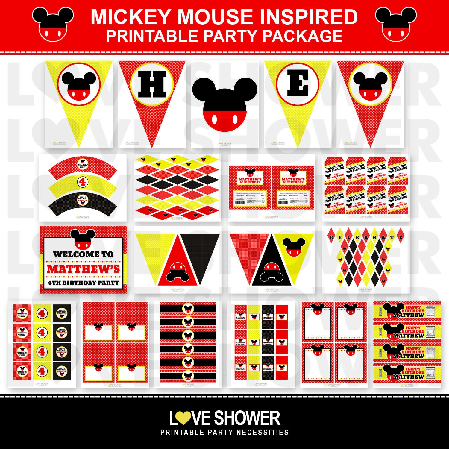 This is a photo of Intrepid Mickey Mouse Party Printables