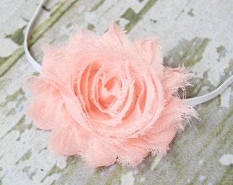 Peach or Apricot Shabby Chic Flower on a Skinny Elastic Headband, Newborn Photo Shoot, Newborn Headband, Infant Headband, Newborn Photo Prop