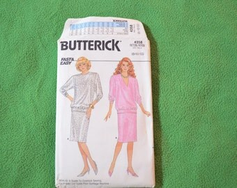 Butterick Pattern 4358 Top and Skirt from 1986 Size 8-10-12