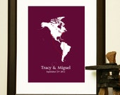 Long Distance Relationship Map - for a relationship, engagement, wedding, or anniversary.