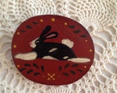 Primitive Lois Rabbit Hand Painted Wood Brooch