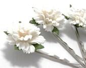 White Carnation Hair Clips, Flower Clips, Wedding Flower Pins, Bridal hair pins, Bobby Pin Flowers, Floral Hair Bobbies