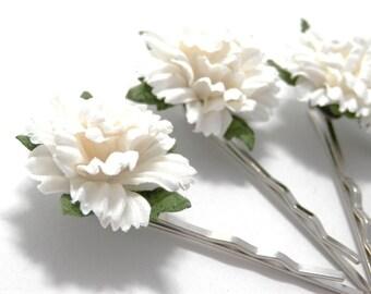 White Carnation Floral Hair Clip Set/Traditional/ Bridal/ Wedding Hair Accessories/ Bridesmaid Bobby Pin/ Wedding Flower Pins